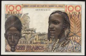West-Afr.Staaten/West African States P.201Bc 100 Francs 1961 (1) Benin