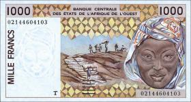 West-Afr.Staaten/West African States P.911Sb 1000 Francs 1998 (1)