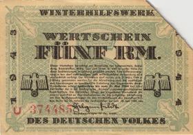 WHW-41 Winterhilfswerk 5 Reichsmark 1943/44 (1) entwertet