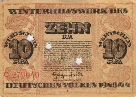 WHW-42 Winterhilfswerk 10 Reichsmark 1943/44 (2) entwertet