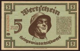 WHW Wertschein 5 Reichsmark 1939 Serie I (1-)