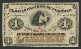 Argentinien / Argentina P.S1781r 4 Pesos Bolivianos 1869