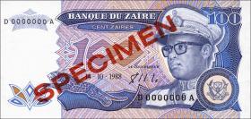 Zaire P.33s 100 Zaires 1988 Specimen (1)