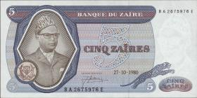 Zaire P.22b 5 Zaires 1980 (1)