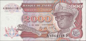 Zaire P.36a 2000 Zaires 1991 (1)