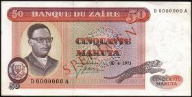 Zaire P.16s 50 Makuta 1973 Specimen (1-)