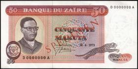 Zaire P.16s 50 Makuta 1973 Specimen (1)