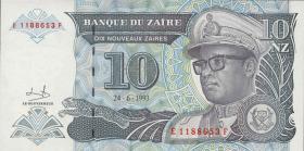 Zaire P.55 10 Nouveau Zaires 1993 (1)