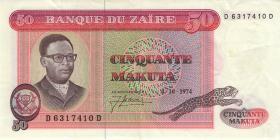 Zaire P.16a 50 Makuta 4.10.1974 (2)