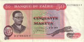 Zaire P.16a 50 Makuta 4.10.1975 (2)
