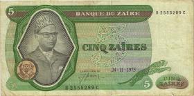 Zaire P.21a 5 Zaires 24.11.1975 (4)