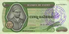 Zaire P.21b 5 Zaires 1977 Stempel Regionalbank (2+)
