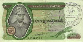 Zaire P.21b 5 Zaires 1977 Stempel Regionalbank (2)