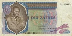Zaire P.23a 10 Zaires 30.6.1976 (3)