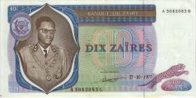 Zaire P.23b 10 Zaires 1977 (1/1-)