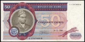 Zaire P.25b 50 Zaires 24.11.1980 (1)