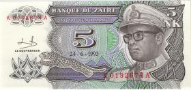 Zaire P.48 5 Nouveau Makuta 1993 (1)