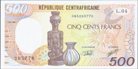 Zentralafrikanische Republik / Central African Republic P.014d 500 Fr. 1991 (1)