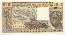 West-Afr.Staaten/West African States P.307Cb 1000 Francs 1981 (1/1-)