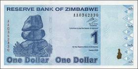 Zimbabwe P.92 1 Dollar 2009 (1)