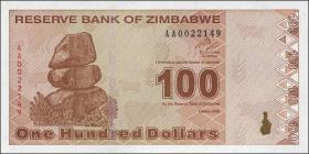 Zimbabwe P.97 100 Dollars 2009 (1)