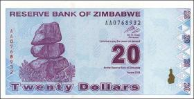 Zimbabwe P.95 20 Dollars 2009 (1)