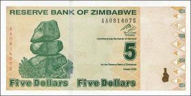 Zimbabwe P.93 5 Dollars 2009 (1)