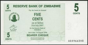 Zimbabwe P.34 5 Cents 2006 (1)
