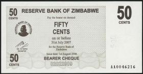 Zimbabwe P.36 50 Cents 2006 (1)