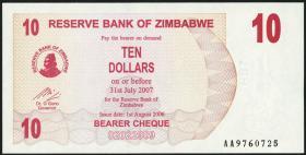 Zimbabwe P.39 10 Dollars 2006 (1)