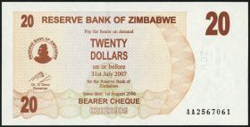 Zimbabwe P.40 20 Dollars 2006 (1)