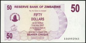 Zimbabwe P.41 50 Dollars 2006 (1)