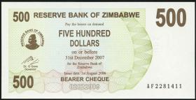 Zimbabwe P.43 500 Dollar 2006 (1)