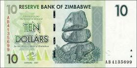 Zimbabwe P.67 10 Dollars 2007 (1)