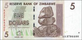 Zimbabwe P.66 5 Dollars 2007 (1)