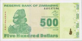 Zimbabwe P.98 500 Dollars 2009 (1)