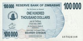 Zimbabwe P.48b 100.000 Dollar 2006 (1)