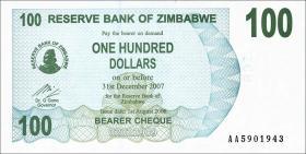 Zimbabwe P.42 100 Dollar 2006 (1)