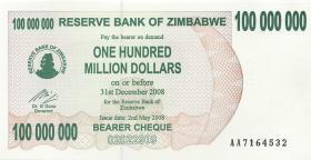 Zimbabwe P.58 100.000.000 Dollars 2008 (1)