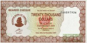 Zimbabwe P.23e 20000 Dollars 2003 (1)