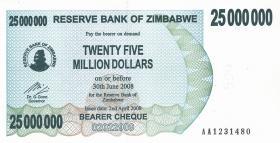 Zimbabwe P.56 25.000.000 Dollars 2008 (1)