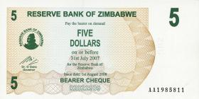 Zimbabwe P.38 5 Dollars 2006 (1)
