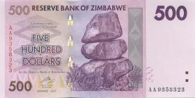 Zimbabwe P.70 500 Dollars 2007 (1)