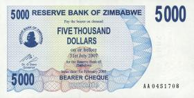 Zimbabwe P.45 5000 Dollar 2007 (1)
