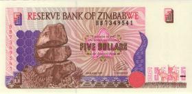 Zimbabwe P.05a 5 Dollars 1997 (1) helle Rückseite