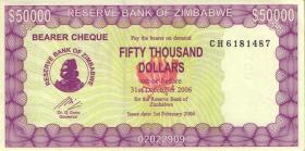 Zimbabwe P.29 50000 Dollars 2006 (2) Serie CH