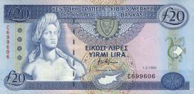 Zypern / Cyprus P.56a 20 Pounds 1992 (1-)
