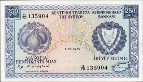 Zypern / Cyprus P.41c 250 Mils 1981 (1)