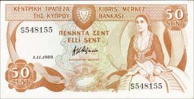 Zypern / Cyprus P.52 50 Cents 1989 (1)