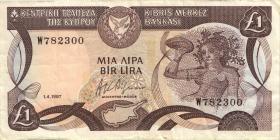 Zypern / Cyprus P.53a 1 Pound 1.4.1987 (3)